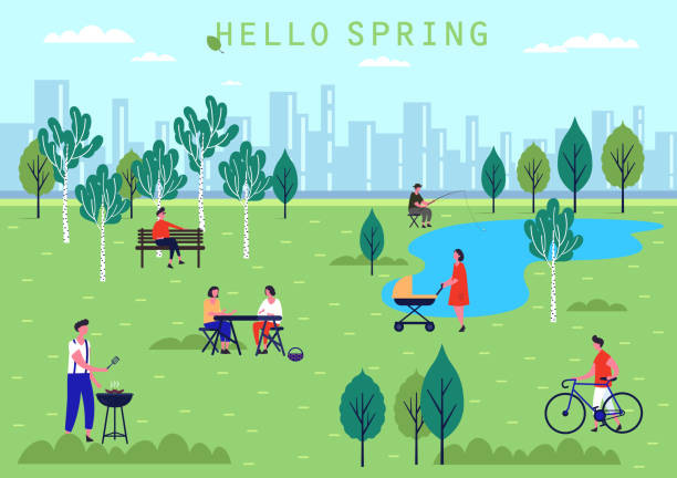 People activity at spring park vector art illustration