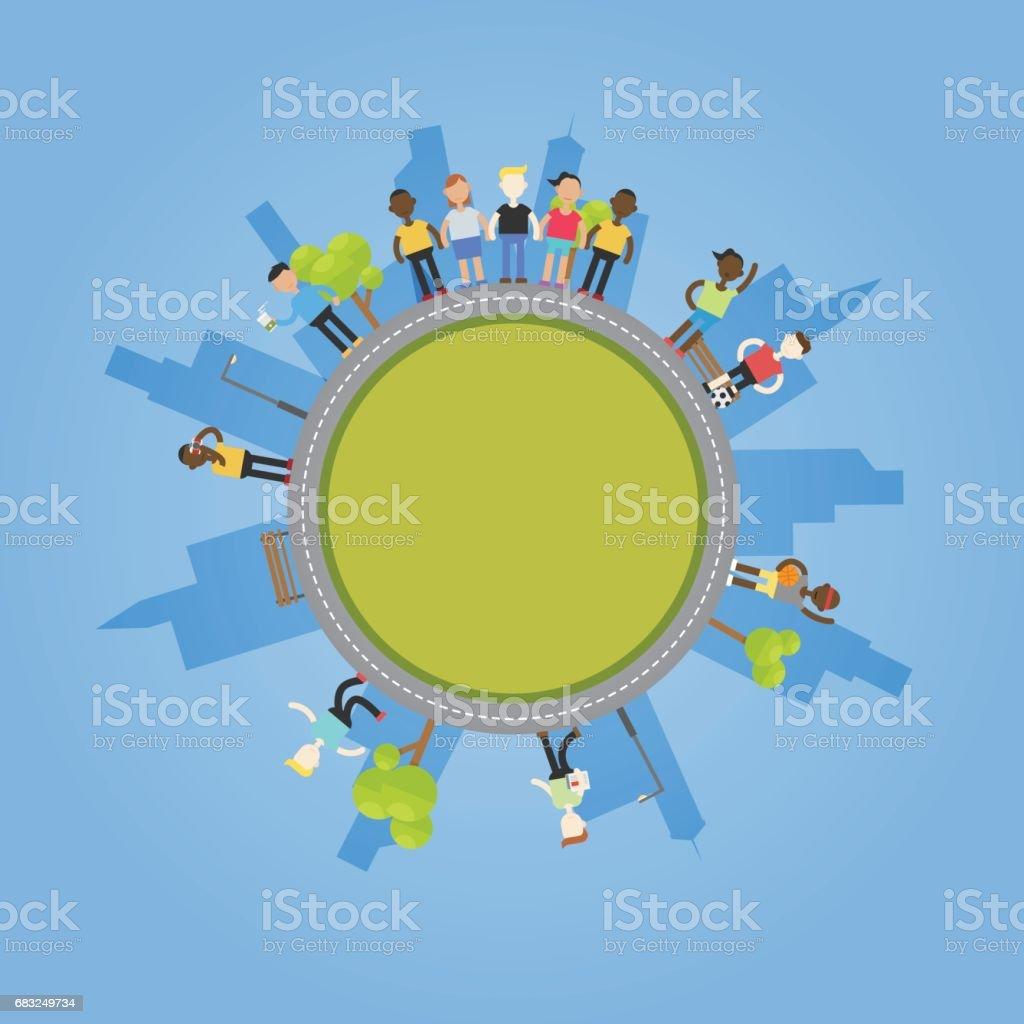 地球上的人們活動 免版稅 地球上的人們活動 向量插圖及更多 一起 圖片