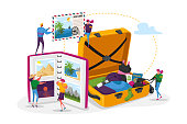 Young People After Vacation Spare Time Concept. Tiny Characters Men and Women Watching Photo Album, Take Out Clothes and Souvenirs from Suitcase. Memory, Photography, Trip. Cartoon Vector Illustration