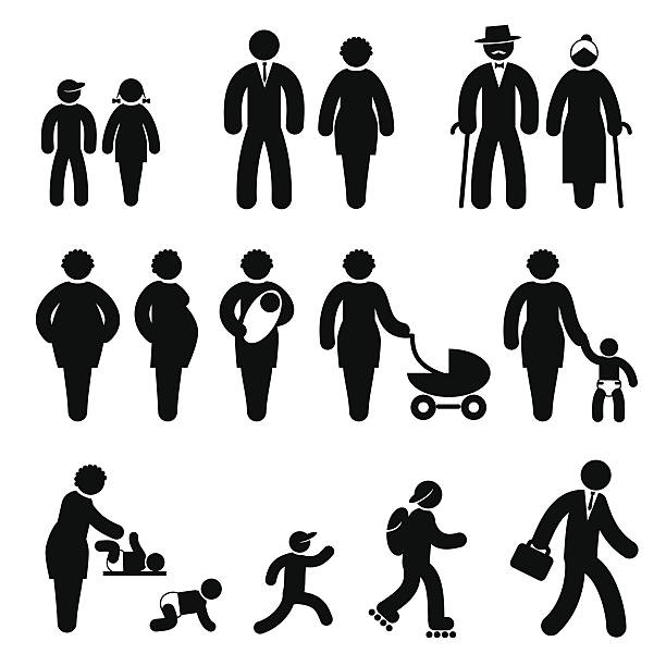 people age - old man in black stock illustrations, clip art, cartoons, & icons