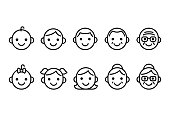 Line icons of people of different ages, from baby to senior, male and female. Cute and simple icon set.