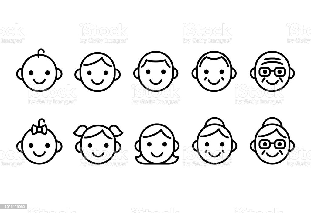 People ages icons vector art illustration