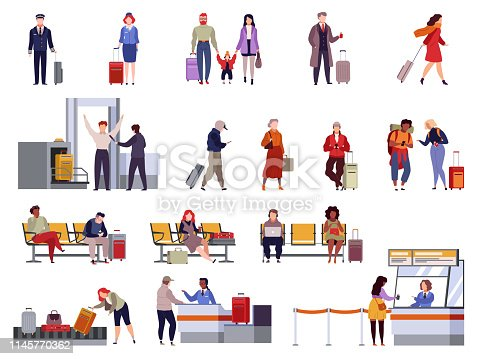 People airport set. Family travel registration passport control checkpoint security airport terminal luggage travelling passenger vector isolated collection