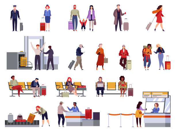 People airport set. Family travel registration passport control checkpoint security airport terminal luggage passenger vector isolated People airport set. Family travel registration passport control checkpoint security airport terminal luggage travelling passenger vector isolated collection airport stock illustrations