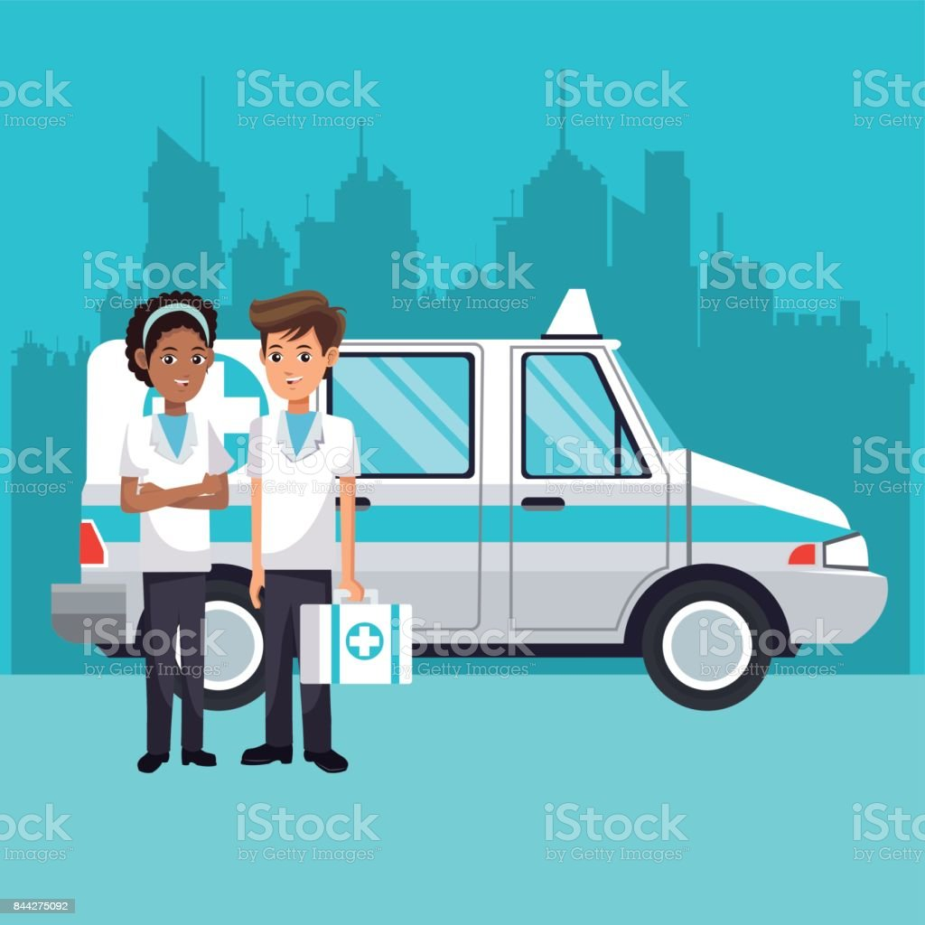 people ambulance with kit first aid urban background vector art illustration