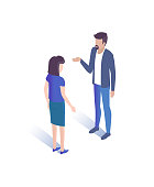 Man and woman talking together vector illustration 3D isometric characters. Managers discussion important changes on cryptocurrency aspects vector