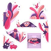 Peeping, peeking, spying vector cartoon set.