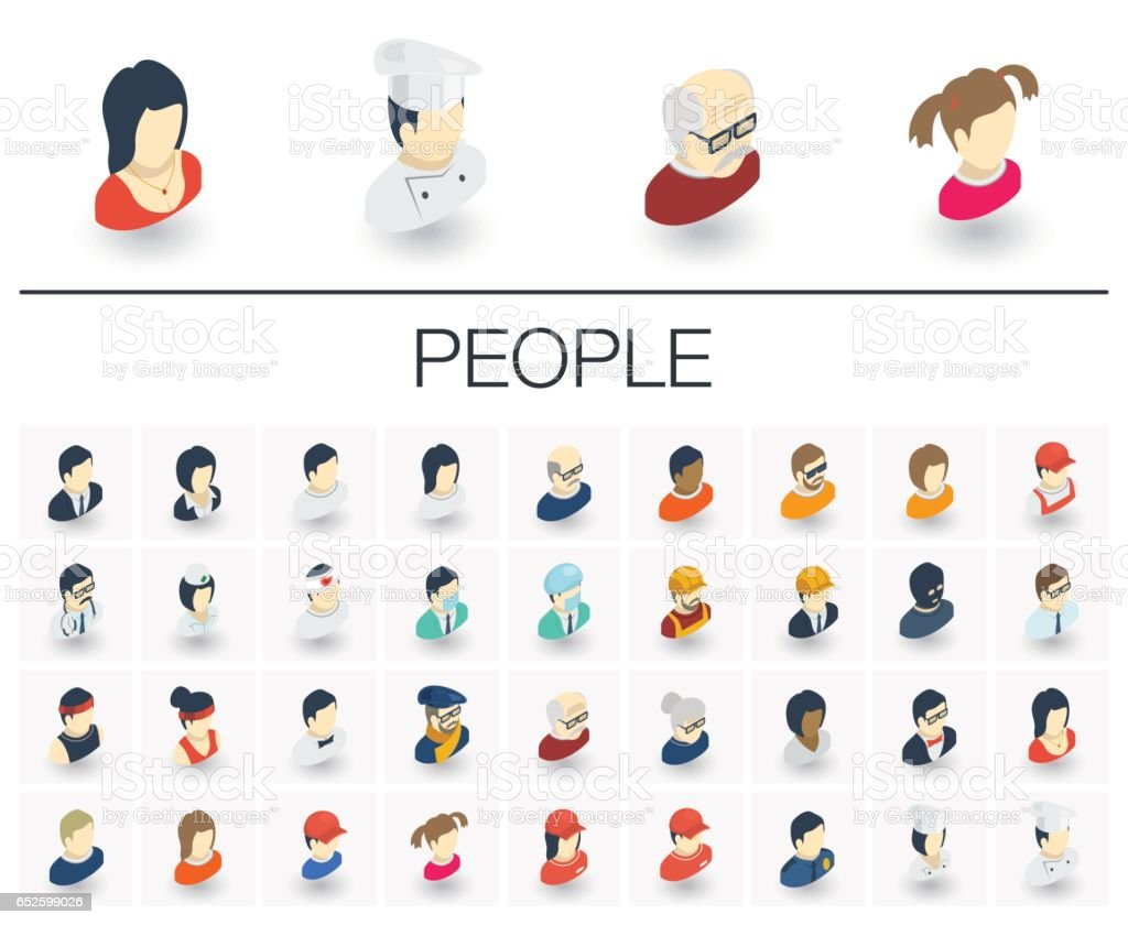 People and Avatars isometric icons. 3d vector vector art illustration