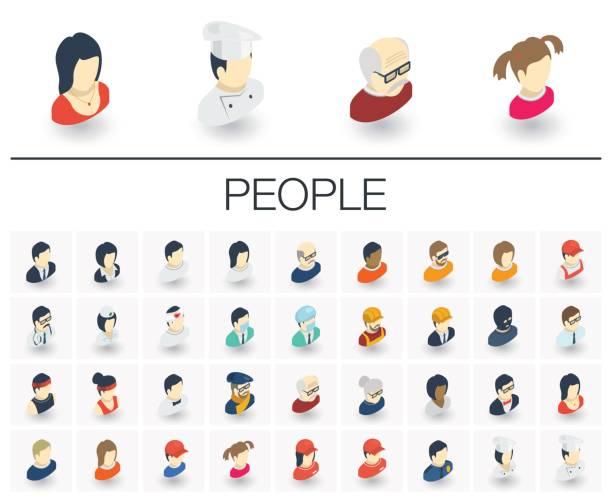 Pessoas e Avatars ícones isométricos. 3D vector - ilustração de arte em vetor