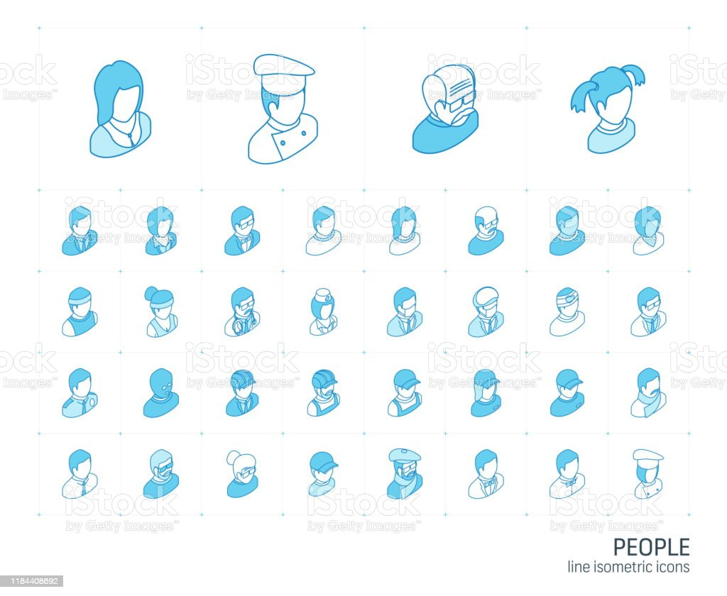 Menschen und Avatare isometrische Liniensymbole. 3D-Vektor - Lizenzfrei Alt Vektorgrafik