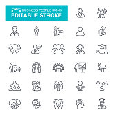 Chart, Working, Population, Infographic, People Editable Stroke Icon Set