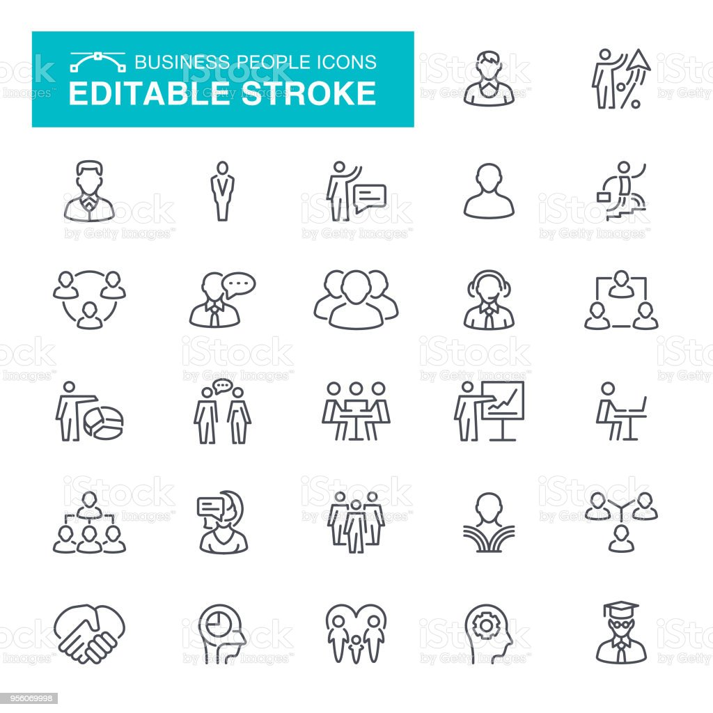People and Business Editable Stroke Icons vector art illustration