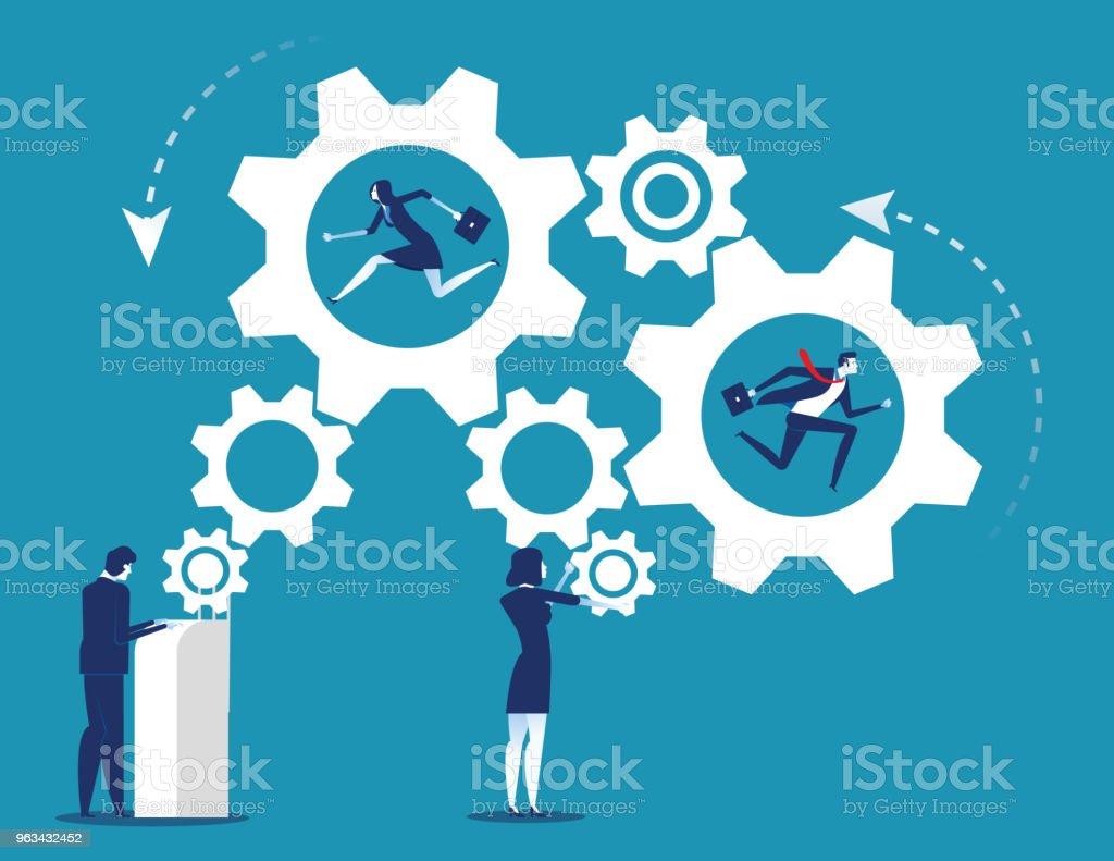 Particuliers et les entreprises de travail industrie du mécanisme d'engrenage. Illustration vectorielle de concept entreprise équipe. - clipart vectoriel de Abstrait libre de droits