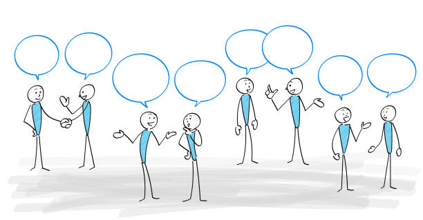 People and communication scene set People and Speech bubble communication scene set stick figure stock illustrations