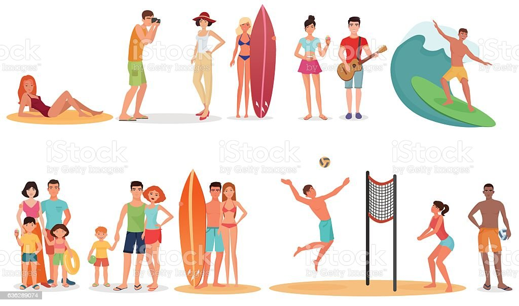People and couples on vacation beach collection. Summer holidays set. vector art illustration