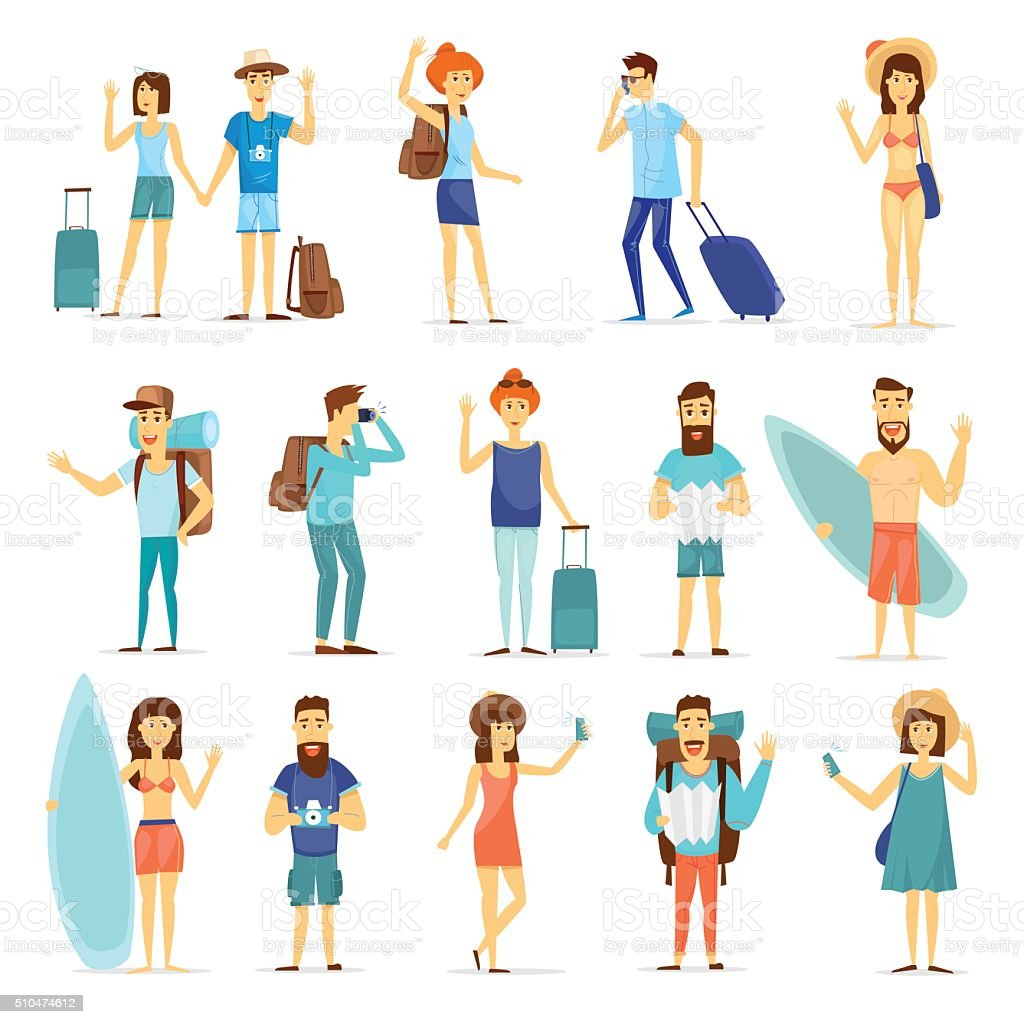 People and couples travelling vector art illustration
