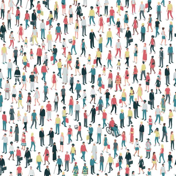 people and diversity seamless pattern - old man in black stock illustrations, clip art, cartoons, & icons