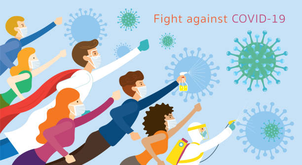 illustrations, cliparts, dessins animés et icônes de les gens et le docteur sont des super-héros pour lutter contre covid-19 - medecin covid