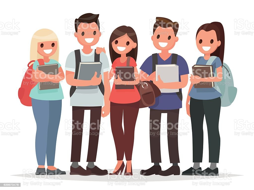 People and Education. Group of happy students with books - ilustración de arte vectorial