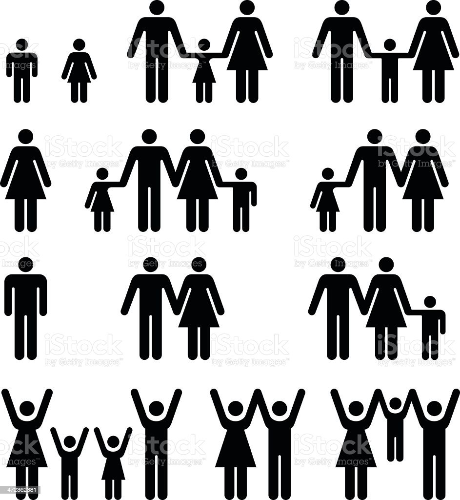 People and Family Symbols vector art illustration