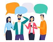 People and friends talk. Cartoon portraits. Flat cartoon style vector illustration.
