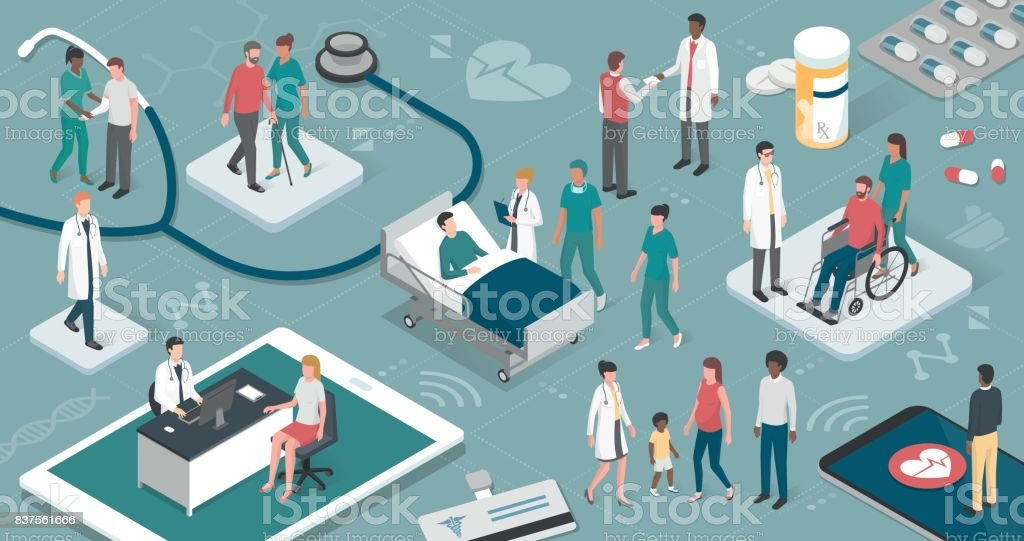 People and healthcare Doctors and nurses taking care of the patients and connecting together: healthcare and technology concept Adult stock vector