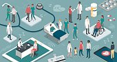 Doctors and nurses taking care of the patients and connecting together: healthcare and technology concept