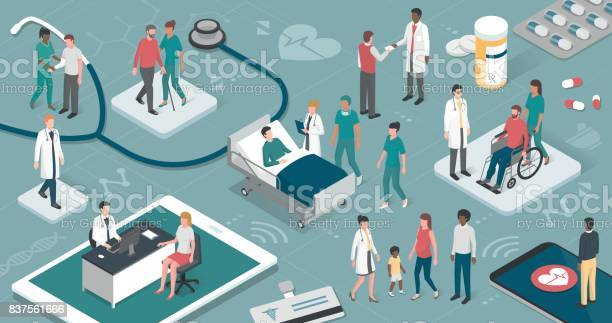 People And Healthcare Stock Illustration - Download Image Now