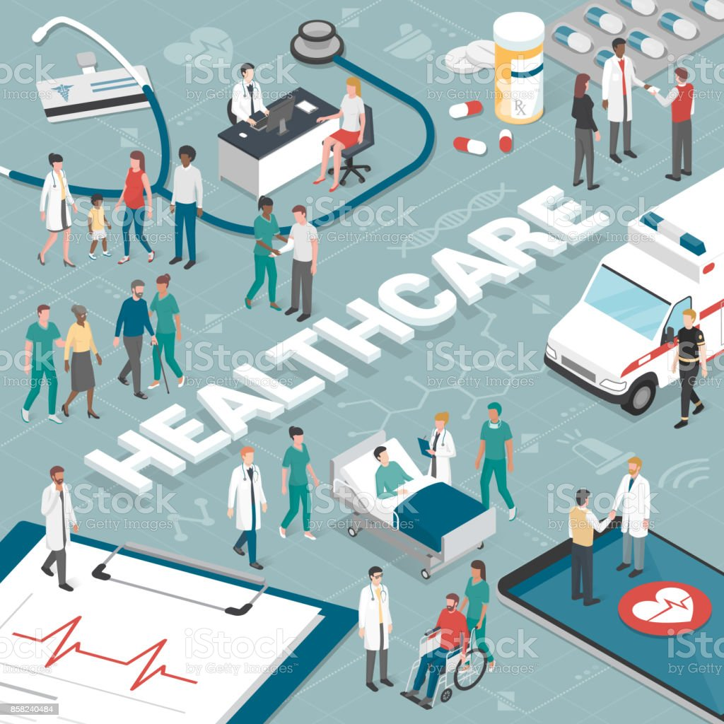 People and healthcare vector art illustration
