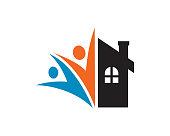 People and House Symbol Template Design Vector, Emblem, Design Concept, Creative Symbol, Icon