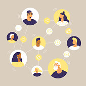 Online chat and video call between friends and family. Avatars in a circle. Social line icons: call, emoji, message, share, like. Vector illustration, flat design