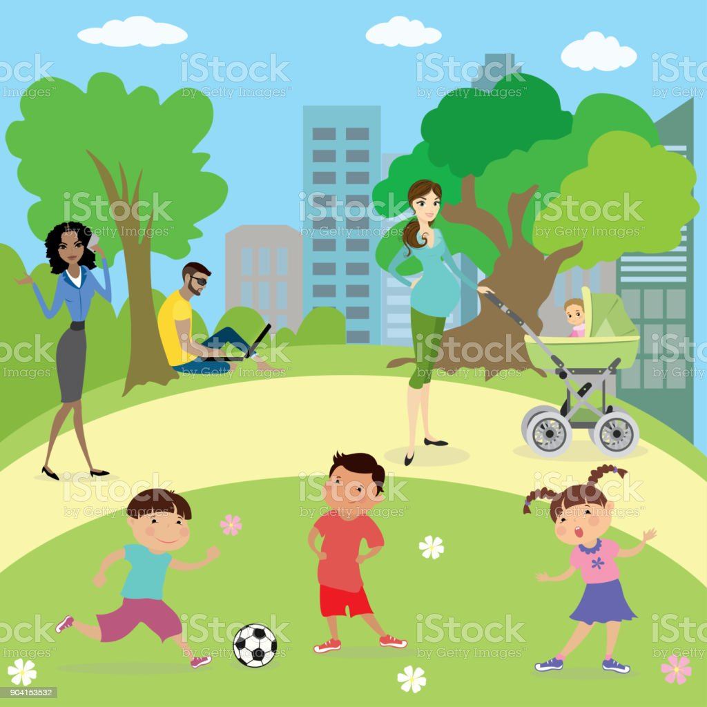 People and kids  in park vector art illustration