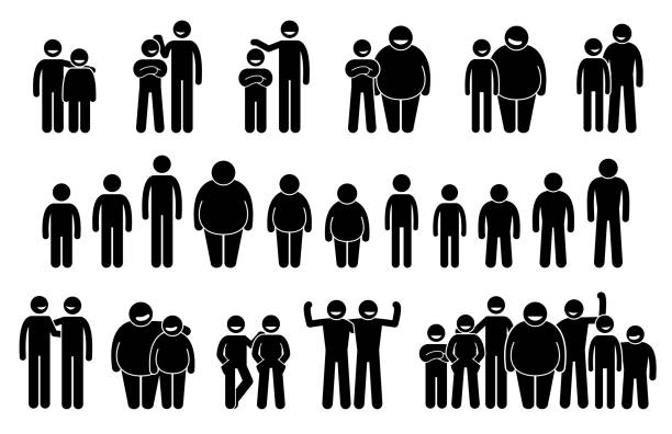 People and Man of Different Body Sizes and Heights Icons. vector art illustration