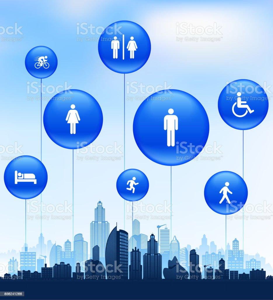 Les gens et la vie moderne Icon Set sur Cityscape fond bleu - Illustration vectorielle