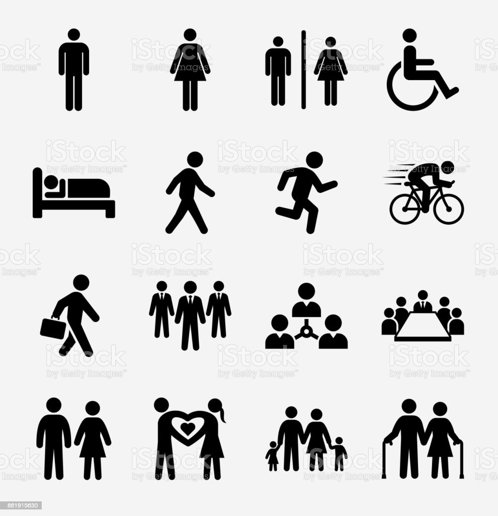 Les gens et la vie moderne Icon Set sur fond clair - Illustration vectorielle