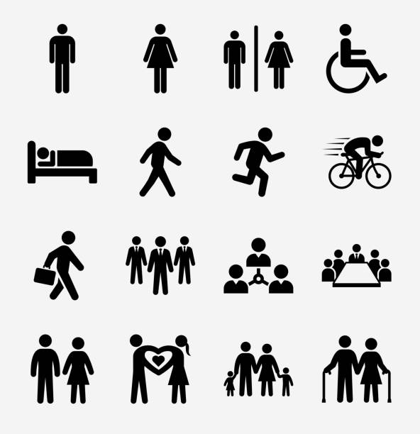 People and Modern Life Icon Set on Light Background People and Modern Life Icon Set on Light BackgroundPeople and Modern Life Icon Set on Round White Buttons man sleeping stock illustrations