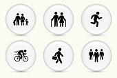 People and Modern Life Icon Set on Round White ButtonsPeople and Modern Life Icon Set on Round White Buttons