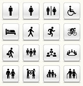 People and Modern Life Icon Set on Square White ButtonsPeople and Modern Life Icon Set on Round White Buttons