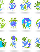People and nature environment symbol.