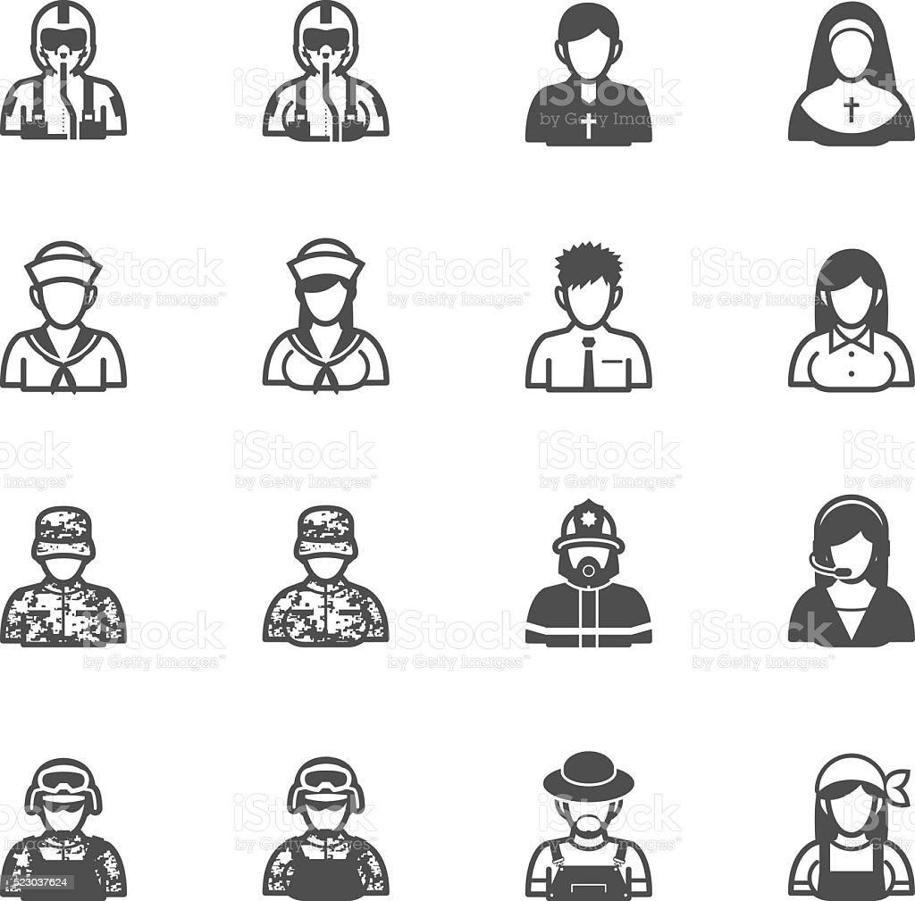 Iconos de personas y la ocupación - ilustración de arte vectorial
