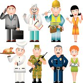Set of People of various professions (Occupations) (CMYK-color)