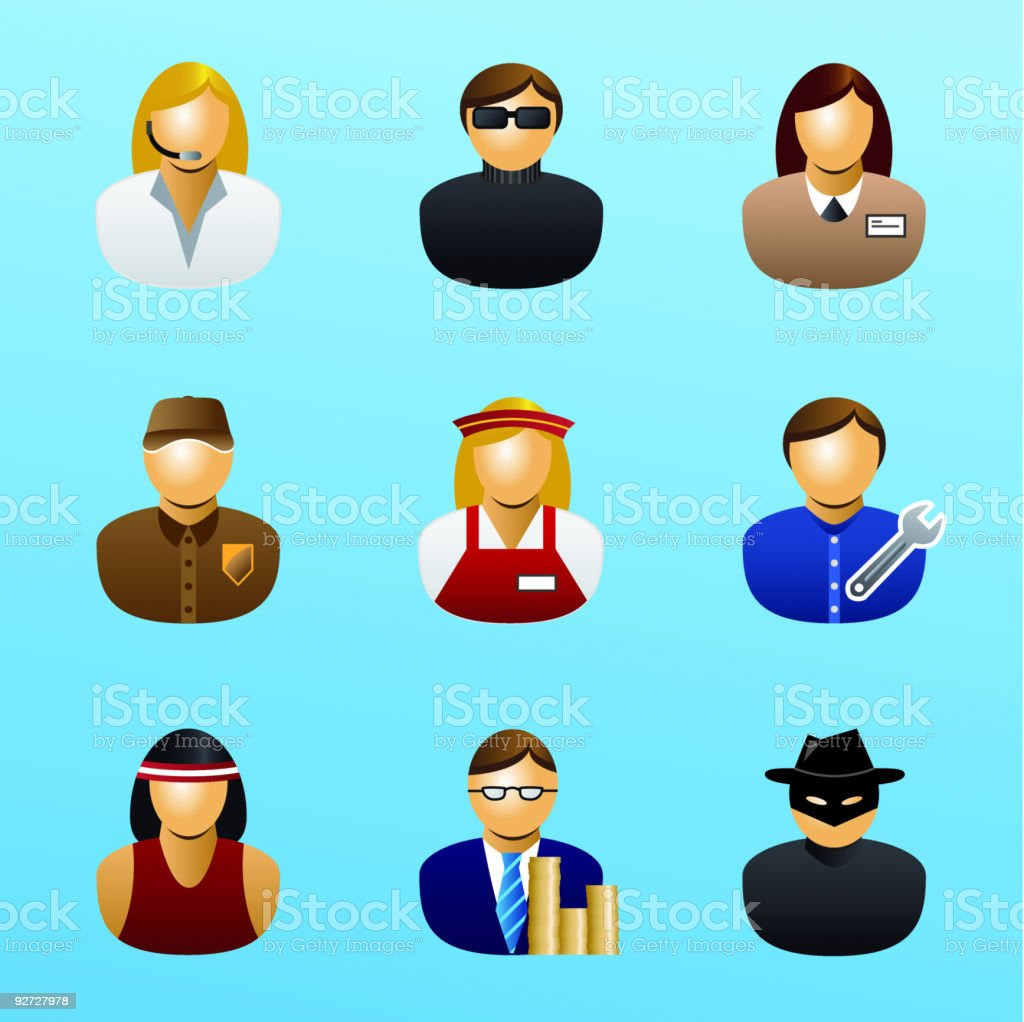 people and occupations icon set 2 vector art illustration