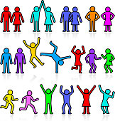 People and party stick figure colorful icon set