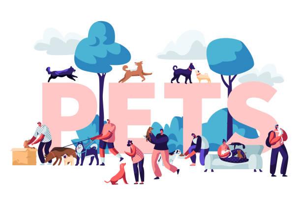 bildbanksillustrationer, clip art samt tecknat material och ikoner med människor och hus djur concept. manliga och kvinnliga karaktärer walking med hundar och katter utomhus, avkopplande, fritid, kärlek, skötsel av djur affisch, banner, flyer, broschyr. tecknad platt vektor illustration - sällskapsdjur