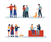Set of people daily lifestyle activities with friends, pets and couples. Includes woman doing groceries, boy talking on phone, walking dog.