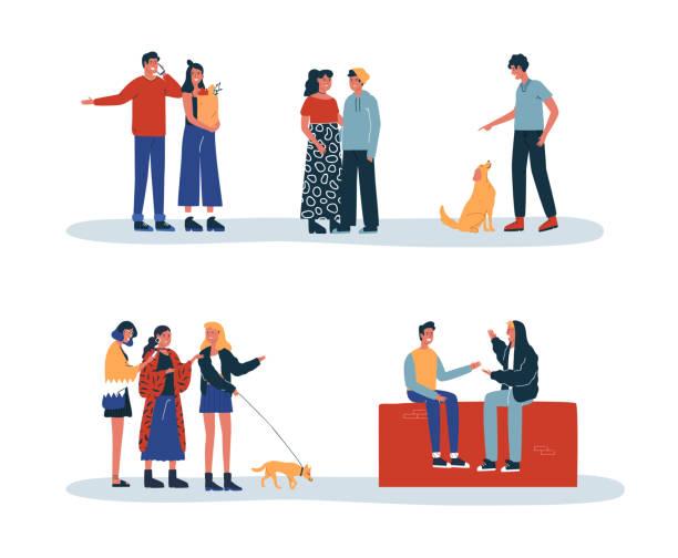 stockillustraties, clipart, cartoons en iconen met mensen en huisdieren dagelijkse leefstijl activiteit geïsoleerd - teenager animal