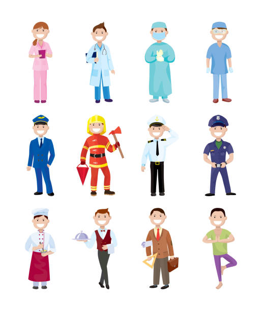 People and professions. Colored characters People and professions. Colored vector characters on white background police meeting stock illustrations