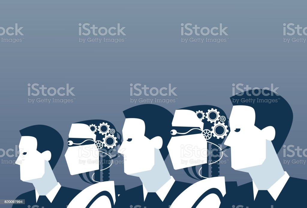 People And Robots Modern Human And Artificial Intelligence Futuristic Mechanism Technology vector art illustration