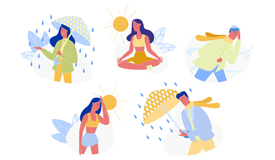 People and Seasons, Different Weather Set Isolated