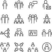 People and social icon set. Thin line icon theme. Outline stroke symbol icons. White isolated background. Illustration vector.